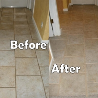 Tile and grout during cleaning and sealing