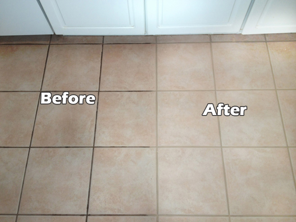 grout before and after clean and seal tile and grout during cleaning