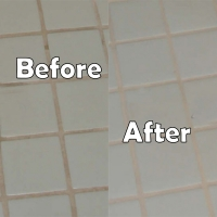 Dirty grout before and after