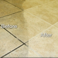 tile regrout before and after