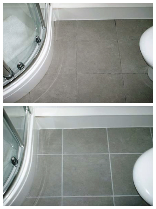 Grout recoloring - before & after images | Seal systems