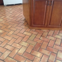 After removing tape marks from Saltillo Pavers